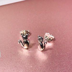 %30 OFF sterling silver cat earrings